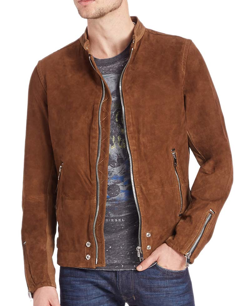 Casual Wear Zipper Mens Brown Suede Leather Jacket