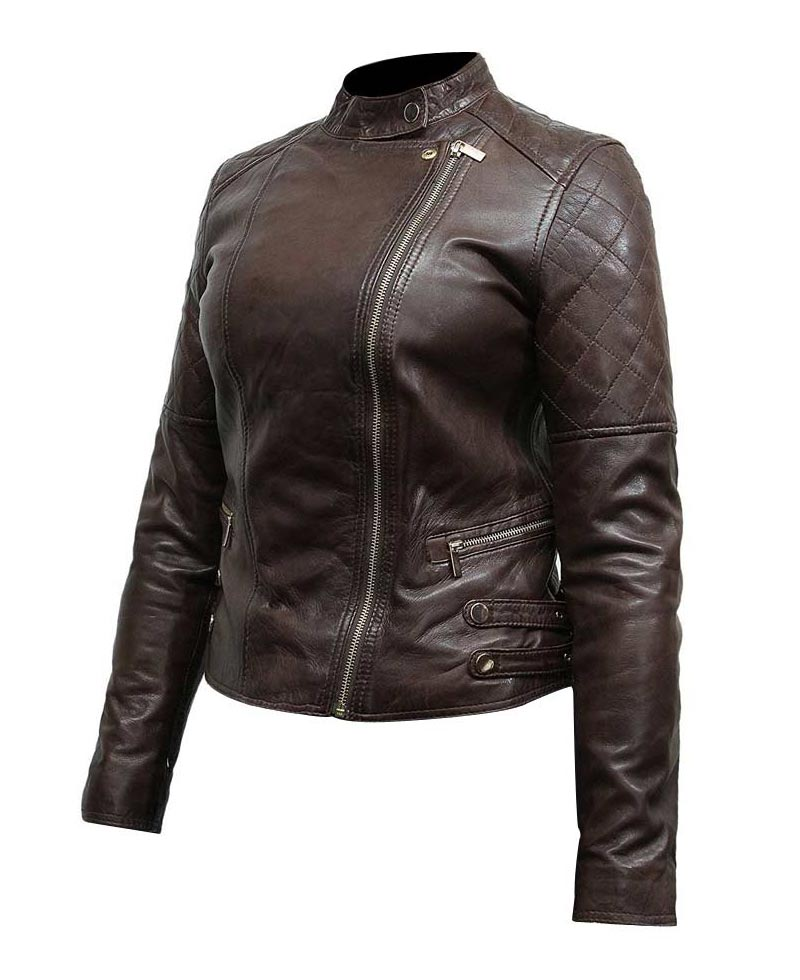 Classic Motorcycle Dark Brown Leather Jacket Womens - Films Jackets