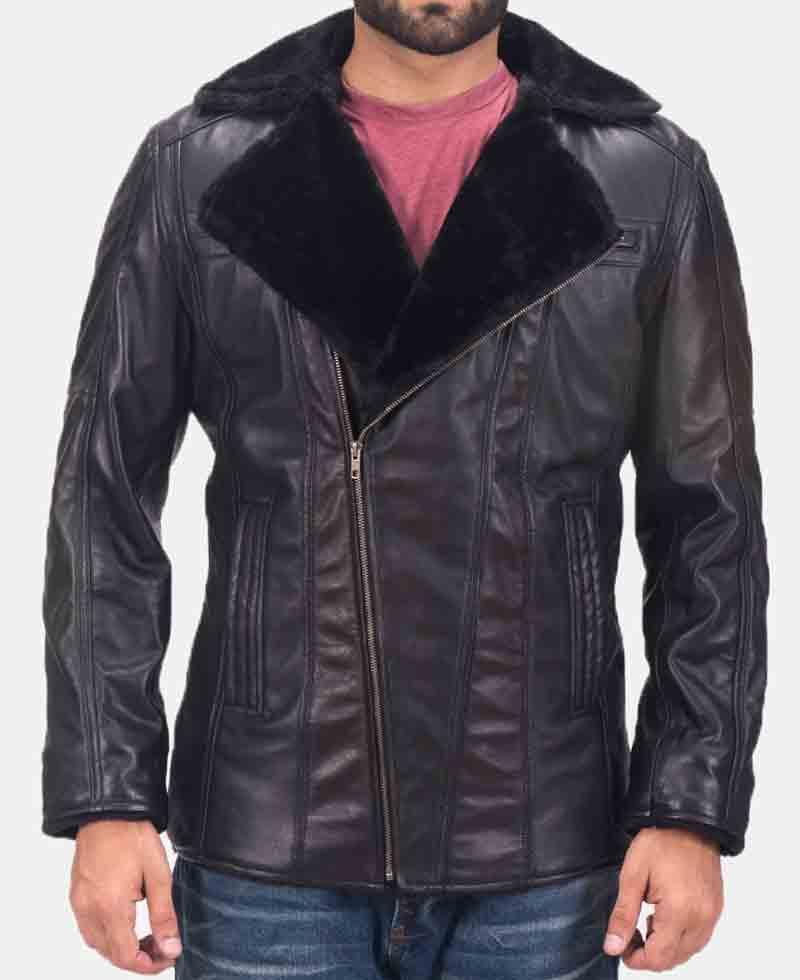 Men S Ambrose Black Leather Shearling Jacket Films Jackets