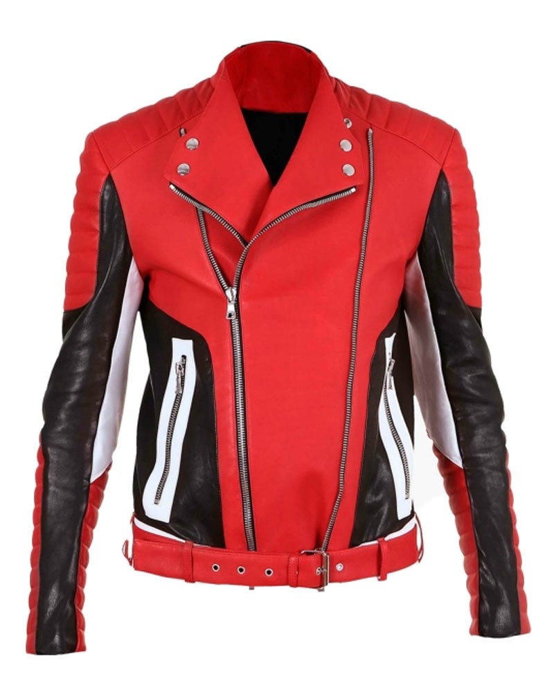 Mens black and red leather jacket