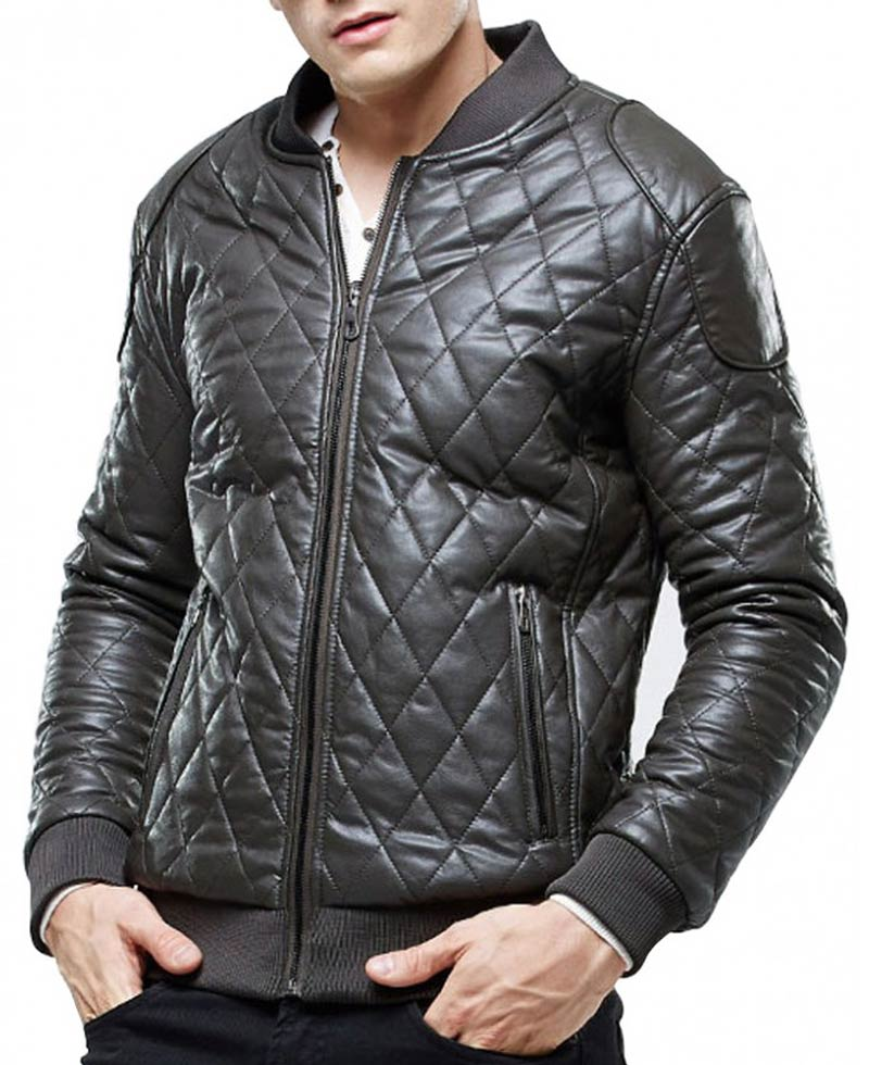 Mens Biker Quilted Leather Grey Bomber Jacket Films Jackets
