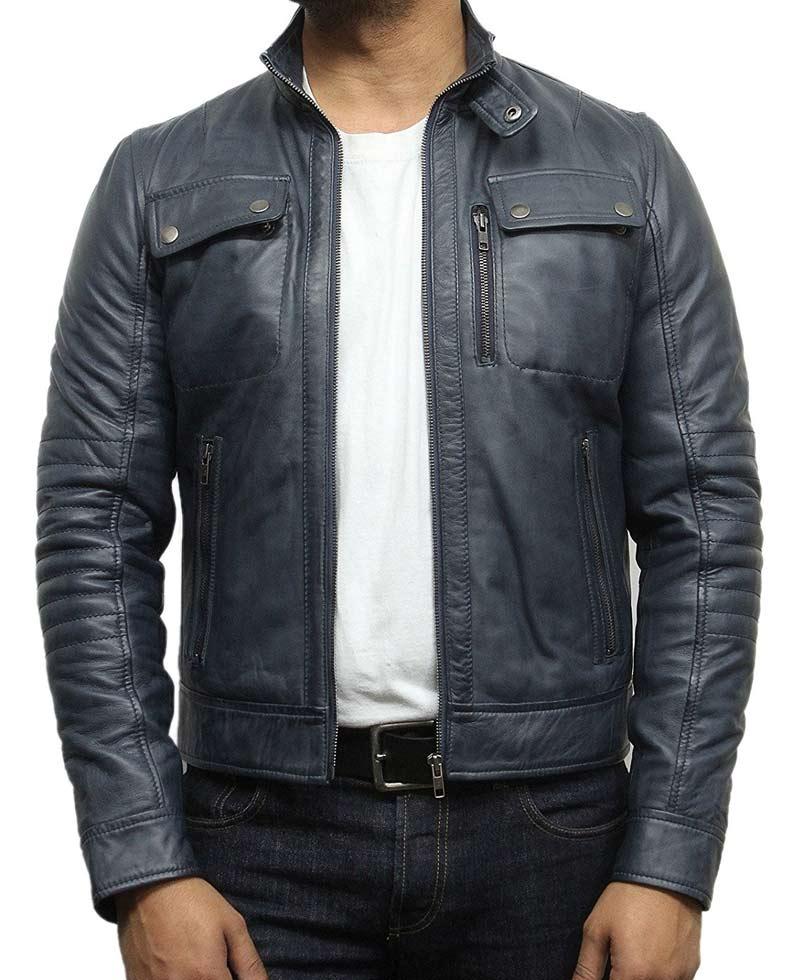 Men S Biker Style Stand Collar Navy Blue Leather Jacket