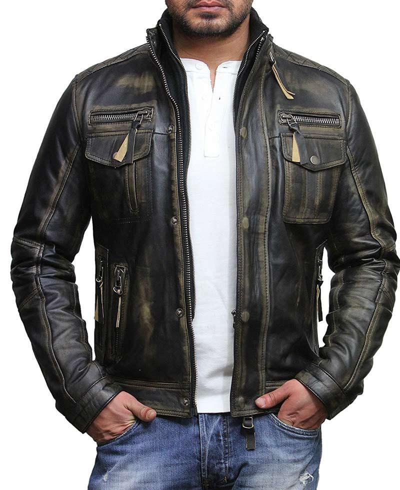 Men's Biker Style Vintage Leather Black Waxed Jacket