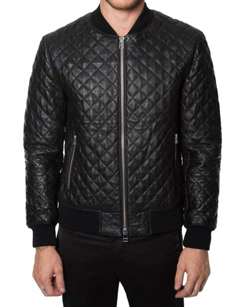 Mens Black Leather Bomber Diamond Quilted Jacket Films Jackets