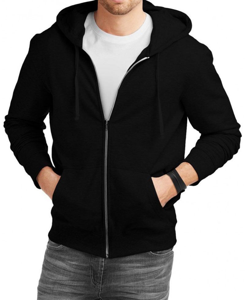 Black zip up hoodies