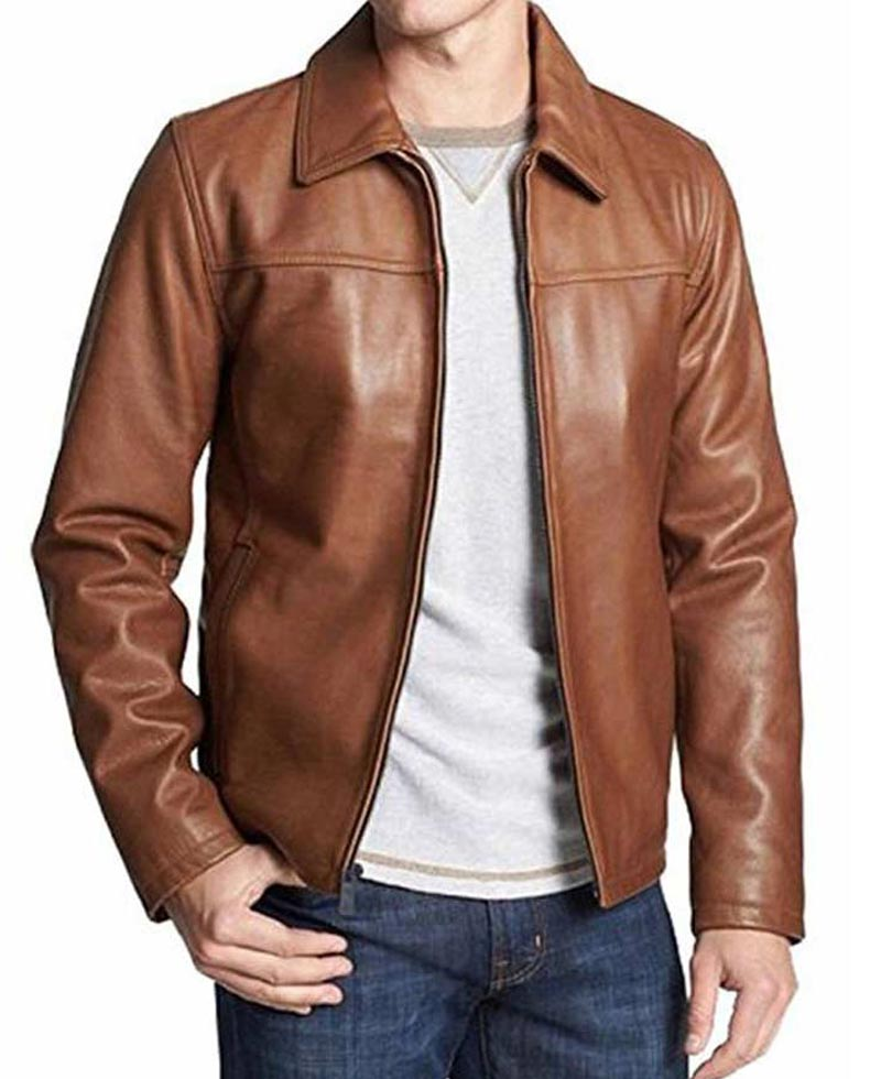 Mens Brown Casual Wear Shirt Collar Leather Jacket - Films ...