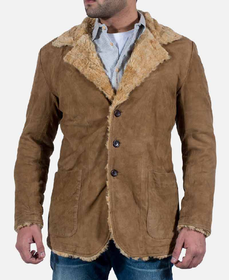 Men S Suede Brown Shearling Jacket With Fur Collar Films Jackets
