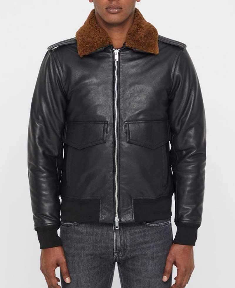 8495b9fb6 Men's Grain Black Leather Bomber Jacket with Brown Fur Collar - Films  Jackets
