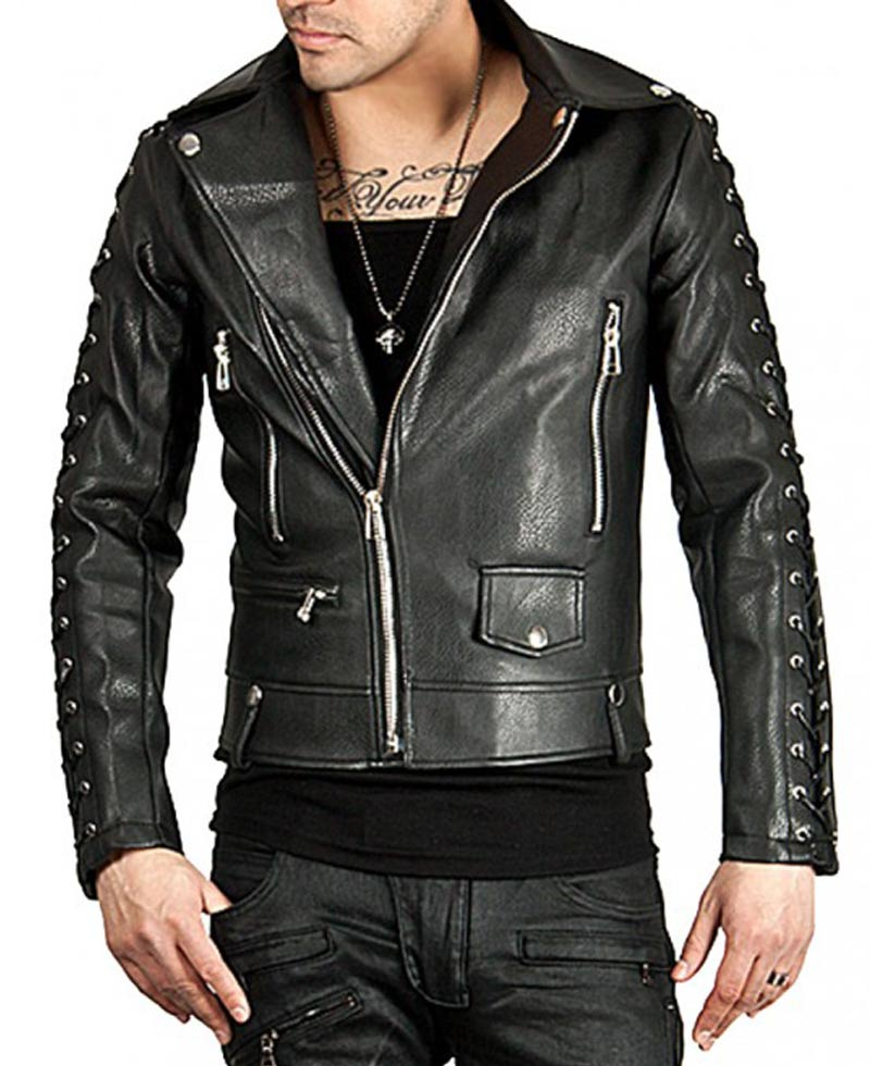 Mens New Style Laces Sleeves Designer Leather Jacket - Films Jackets