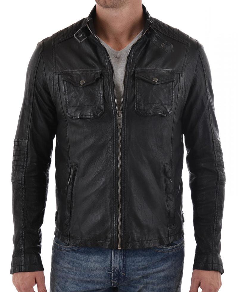 Men's Quilted Shoulder Belted Collar Black Leather Jacket ...