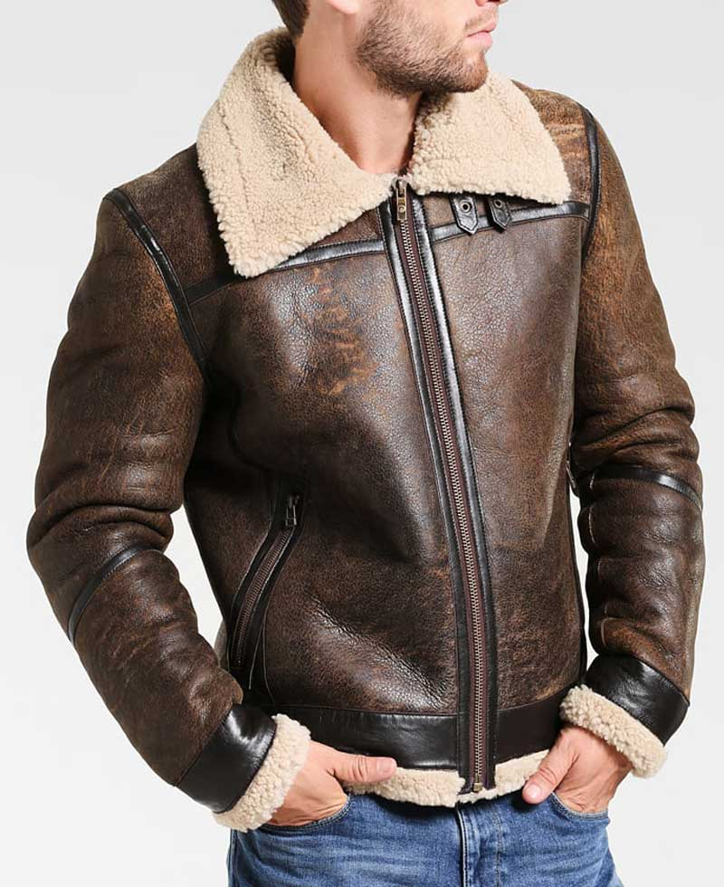 Mens Shearling Distressed Leather Aviator Jacket - Films ...