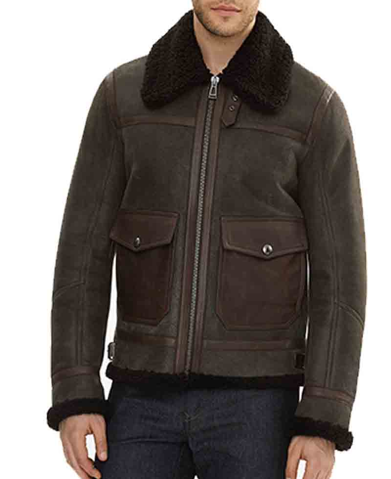 Mens Sheepskin Leather Bomber Brown Shearling Jacket With Fur Collar