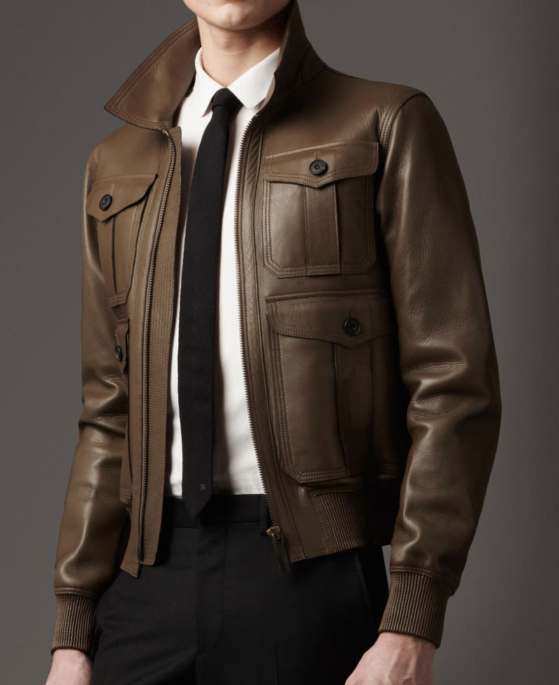 656f1296913 Men s Slim Fit Flap Pockets Dark Brown Leather Jacket - Films Jackets
