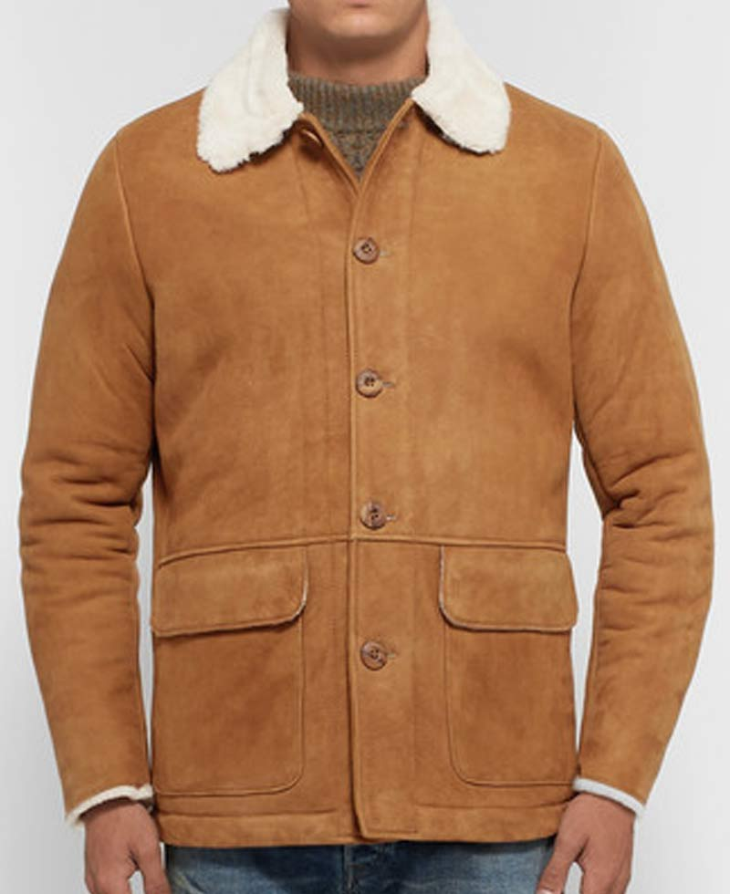 Men S Shearling Tan Brown Suede Jacket With Fur Collar Films Jackets
