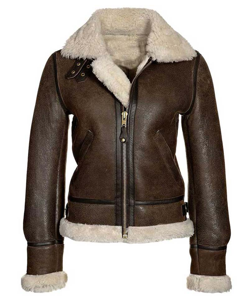 1704a0901 Shearling Distressed Brown Leather Aviator Jacket Womens - Films Jackets