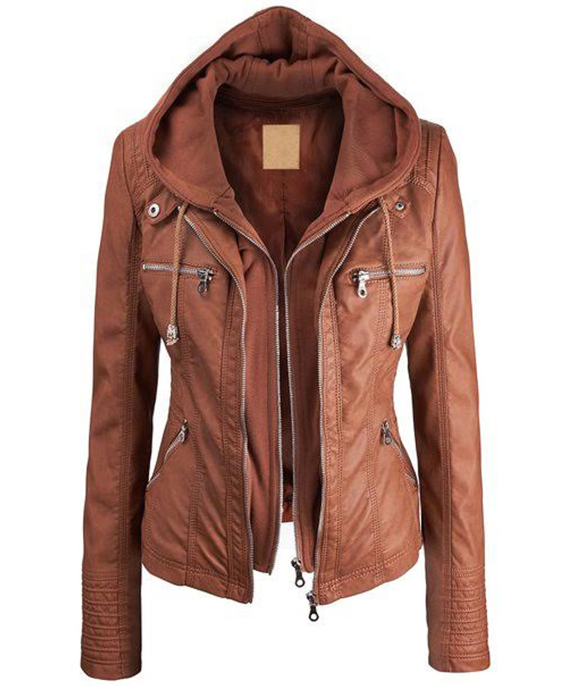Brown Faux Leather Jacket Womens Jacket With Hood