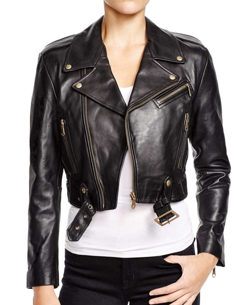 Womens Cropped Black Leather Jacket - Films Jackets