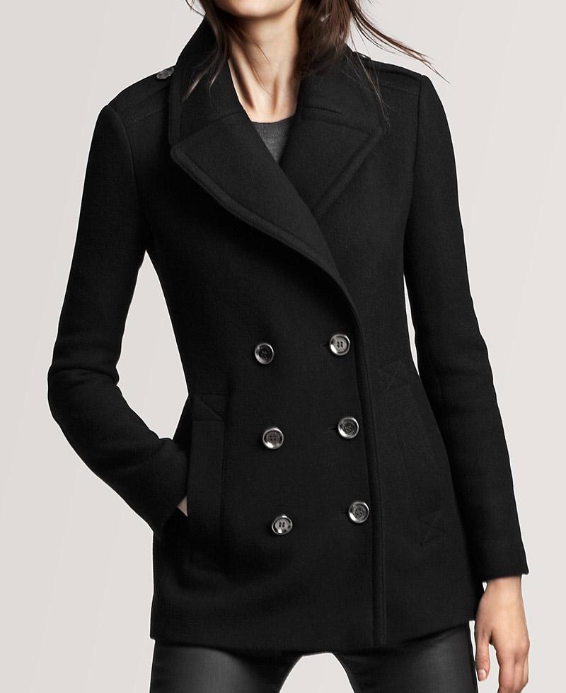 Wool Fabric Womens Black Peacoat Films Jackets
